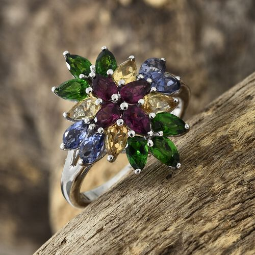 Rhodolite Garnet (Pear), Russian Diopside, Citrine and Iolite Flower Ring in Platinum Overlay Sterling Silver 4.500 Ct.