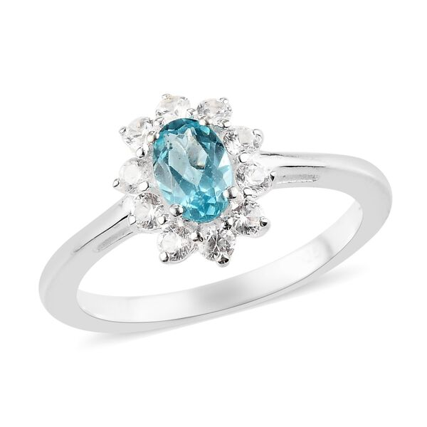 Paraiba Apatite and Natural Cambodian Zircon Halo Ring in Sterling Silver