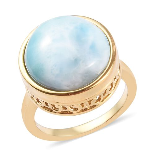 7.75 Ct Larimar Solitaire Ring in Gold Plated Sterling Silver