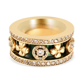Set of 3 - Simulated Diamond Green Enamelled Band Ring in Gold Tone
