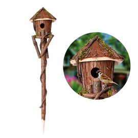 Handmade Wooden Bird House with Stand (Size 80x16x16 Cm) - Natural