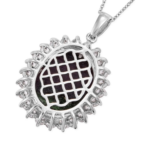 Ruby Zoisite (Ovl 20x15 mm), Natural Cambodian Zircon Pendant With Chain (Size 20) in Platinum Overlay Sterling Silver 22.00 Ct.