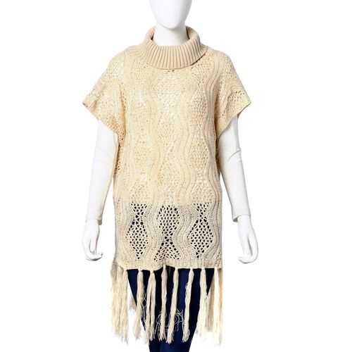 Winter Special - Cream Colour Wavy Pattern High Neck Design Knitted Vest with Tassels (Size 70X64 Cm