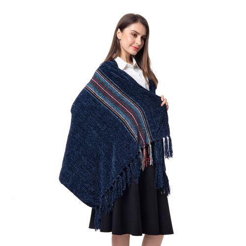 One Time Close Out Deal- Designer Inspired- Navy Colour Stripe Pattern Scarf (Size 160x75 Cm)