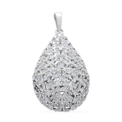 Designer Inspired 9K White Gold SGL Certified Fire Cracker Diamond (Bgt) (I3/G-H) Tear Drop Pendant 1.000 Ct. 4.27 Grams Gold Number of Diamonds 180