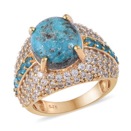 Persian Turquoise (Ovl 12x10 mm), Natural Cambodian Zircon and Neon Apatite Ring in 14K Gold Overlay