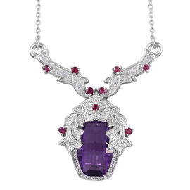 Amethyst (Barrel 16x10 mm), Natural Cambodian Zircon and Burmese Ruby Necklace (Size 18) in Platinum