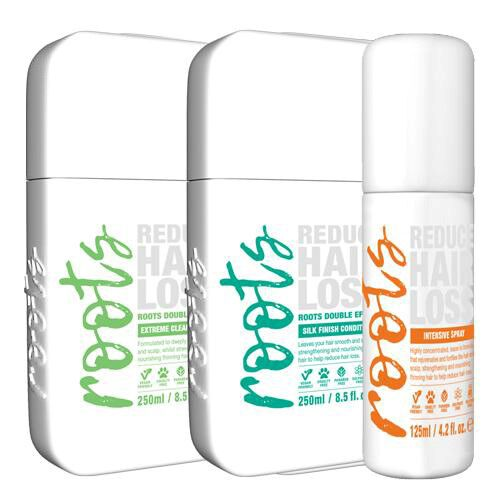 Roots: Extreme Clean Shampoo - 250ml, Silky Finish Conditioner - 250ml & Intensive Treatment Spray - 125ml