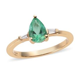 ILIANA 18K Yellow Gold AAA Boyaca Colombian Emerald (Pear), Diamond (SI/G-H) Ring 0.83 Ct.