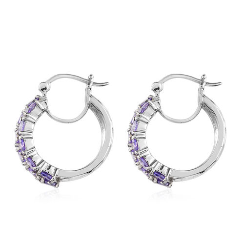 Simulated Amethyst Hoop Earrings (with Clasp) in Stainless Steel
