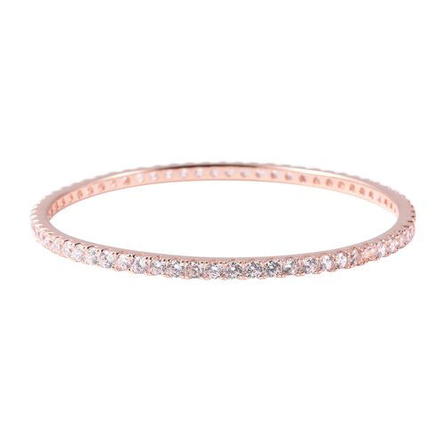 ELANZA Simulated Diamond Stacker Bangle in Rose Gold Plated Sterling Silver 12.39 Grams 7.5 Inch