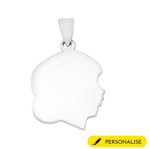 Personalise Engravable Girl Face Pendant in Silver