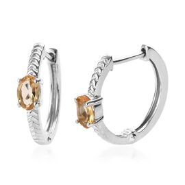 Citrine (Ovl) Hoop Earrings (with Clasp) in Platinum Overlay Sterling Silver 0.75 Ct.
