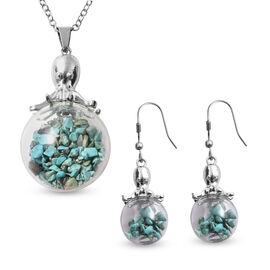 2 Piece Set - Blue Howlite Pendant with Chain (Size 24 with 2 inch Extender) and Drop Hook Earrings