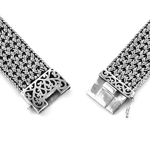 Royal Bali Collection Hand Made EON 1962 Swiss Movement Bracelet (Size 8.0) Watch in Sterling Silver, Silver wt 72.00 Gms