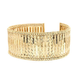 Vicenza Collection Designer Inspired - 9K Yellow Gold Diamond Cut Bangle (Size 7 with 1.5 inch Exten