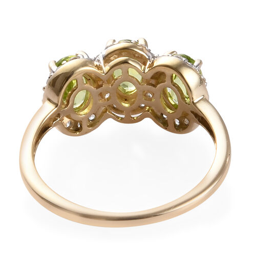 9K Yellow Gold AA Hebei Peridot and Natural Cambodian Zircon Ring 2.00 Ct.