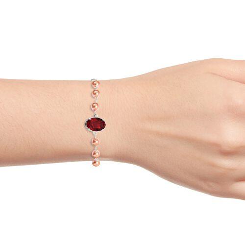J Francis - Crystal from Swarovski Light Siam Crystal (Ovl), Crystal from Swarovski Rose Peach Pearl Crystal Bracelet (Size 6.5-9.5 Adjustable) in Sterling Silver