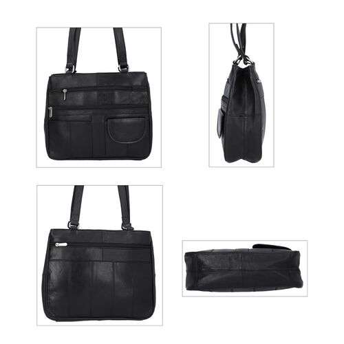 New Age - 100% Genuine Leather Shoulder Bag with Multiple Zipped Pockets (Size 32x25x10cm) - Black