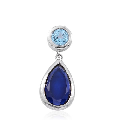 Simulated Blue Sapphire and Signity Blue Topaz Pendant with Chain (Size 18 with 2 inch Extender) in Rhodium Plated Silver
