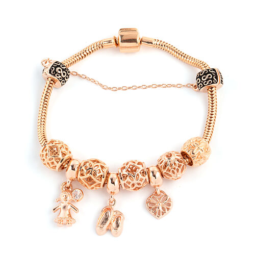 Designer Inpsired - Rose Gold Overlay Sterling Silver Bracelet (Size 7.5) with Charm, Silver wt 25 Gms.
