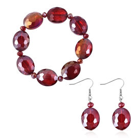 2 Piece Set - Simulated Ruby Beads Hook Earrings and Stretchable Bracelet (Size7)
