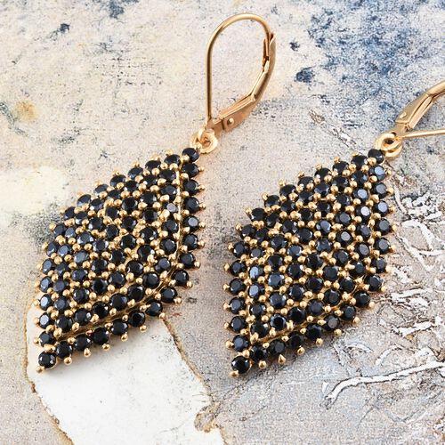 Boi Ploi Black Spinel (Rnd) Lever Back Earrings in 14K Gold Overlay Sterling Silver 7.250 Ct. Silver wt. 8.22 Gms.