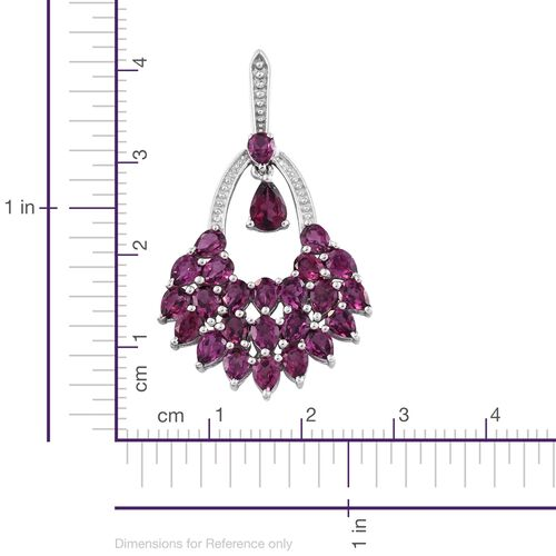 Designer Inspired - Purple Garnet (Pear) Earrings (with Push Back) in Platinum Overlay Sterling Silver 10.250 Ct. Silver wt. 7.70 Gms.