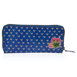 SUKRITI 100% Genuine Leather Owl Family Wallet with RFID Blocker (Size 22x10 Cm) - Dark Blue