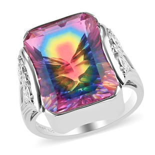 Sajen Silver Celestial Collection - Quartz Doublet Celestial Starlight Ring in Rhodium Overlay Sterl