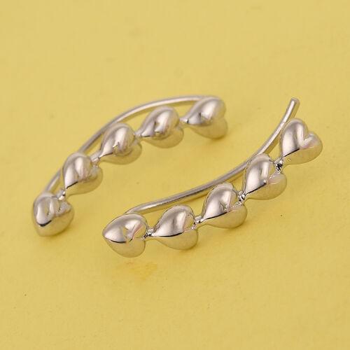 Platinum Overlay Sterling Silver Heart Climber Earring