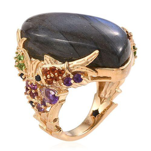 GP Labradorite, Amethyst, Rhodolite Garnet, Madeira Citrine, Russian Diopside, Boi Ploi Black Spinel and Kanchanaburi Blue Sapphire Ring in 14K Gold Overlay Sterling Silver 34.000 Ct.