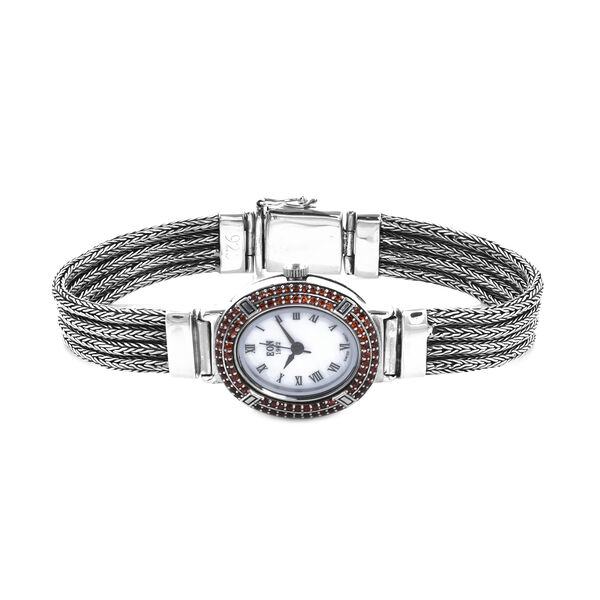 Royal Bali Collection - EON 1962 Swiss Movement Mozambique Garnet Studded Water Resistant Tulang Naga Bracelet Watch (Size 7.25) in Sterling Silver 1.23 Ct, Silver wt 35.52 Gms