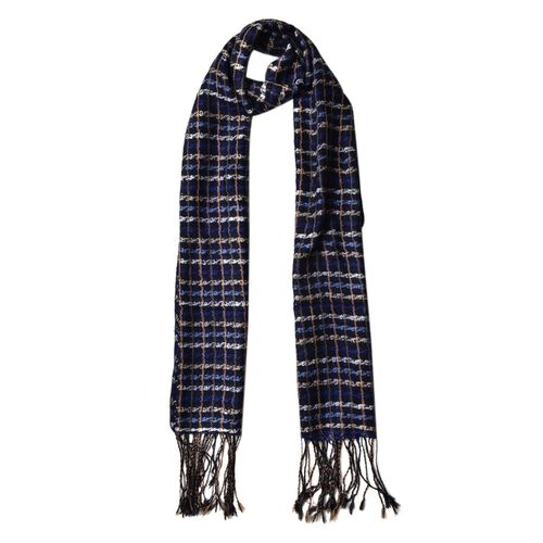 100% Wool Black, Blue and Multi Colour Checks Pattern Scarf with Tassels (Size 170X47 Cm)