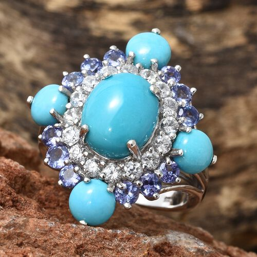 Arizona Sleeping Beauty Turquoise (Ovl 3.45 Ct), Tanzanite and Natural Cambodian Zircon Floral Ring in Platinum Overlay Sterling Silver 9.250 Ct. Silver wt 6.49 Gms.