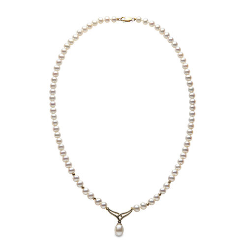 9K Yellow Gold (2Gms) Freshwater Pearl Necklace (Size 17)