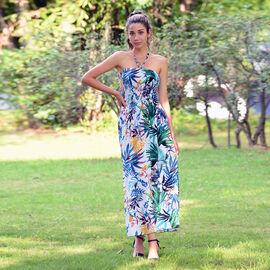 JOVIE Floral Pattern Smocked Halter Dress (Size 115x27 Cm - Up To Size 18) - White & Muti