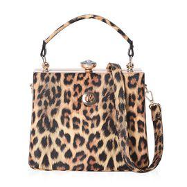 Leopard Pattern Tote Bag with Detachable Shoulder Strap (Size 22x14x18 Cm) - Yellow
