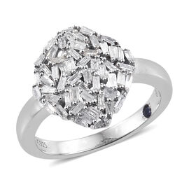 GP Multi Colour Diamond Cluster Ring in Sterling Silver 4.5 Grams