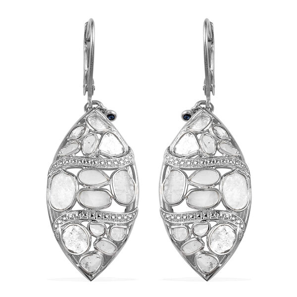GP 2.56 Ct Polki Diamond and Blue Sapphire Drop Earrings in Platinum Plated Silver