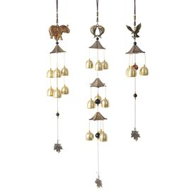 Set of 3 - Home Decor Elephant, Fish and Eagle with Bells Wind Chime - Colour Copper and Gold