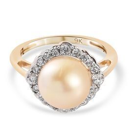 9K Yellow Gold South Sea Pearl and Natural Cambodian Zircon Halo Ring