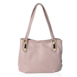Super Soft High Glossed 100% Genuine Leather Purple Colour Tote Bag with External Zipper Pocket (Siz