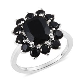 3.75 Ct Black Tourmaline and Boi Ploi Black Spinel Floral Ring in Silver