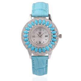 EON 1962 Swiss Movement Arizona Sleeping Beauty Turquoise (6.0 Ct) and Natural Cambodian Zircon (1.8