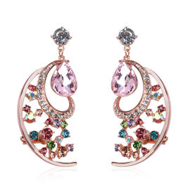 Simulated Rose Quartz and Multi Colour Austrian Crystal Dangle Earrings in Rose Gold Tone