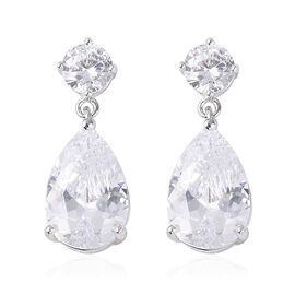 ELANZA Simulated Diamond Drop Earrings in Sterling Silver With Push Back