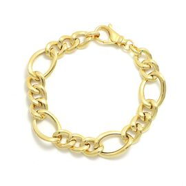 Viale Argento Yellow Gold Overlay Sterling Silver Figaro Bracelet (Size 8)