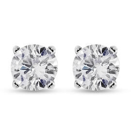 Biggest NY Close Out 2021- 14K White Gold Diamond (I2-I3/G-H) Earrings (with Push Back) 0.75 Ct.