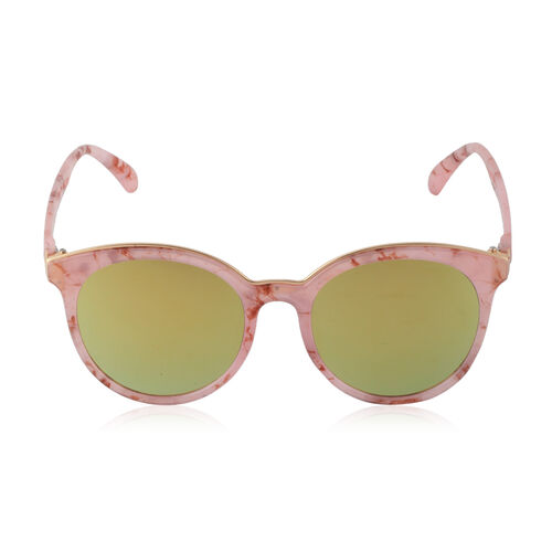 Round Frame - Pink Marbling with Mirrored Lens Sunglasses